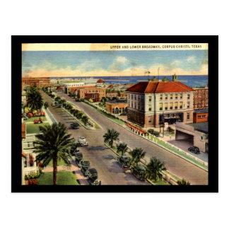 Broadway, Corpus Christi Texas Vintage Postcard