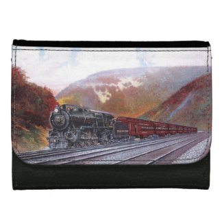 Broadway Limited Steam Train Leather Wallet For Women
