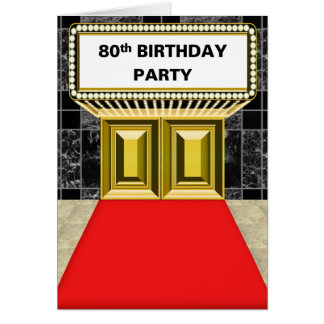 Broadway Marquee Red Carpet 80 th Birthday Party Card
