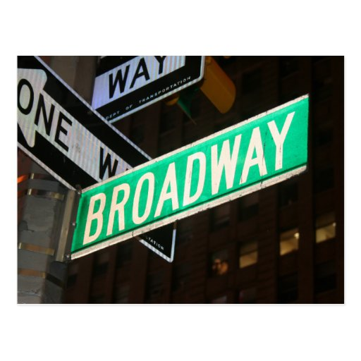 Broadway Street Sign Post Cards