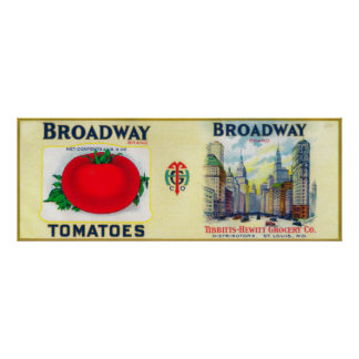 Broadway Tomato LabelSt. Louis, MO Poster