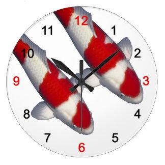 "Brocade carp of crimson white, ""KOI"" Large Clock"