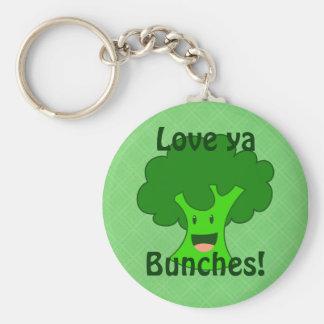 Broccoli Bunch Basic Round Button Keychain