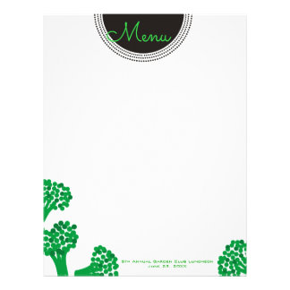 broccoli vegetable dinner party menu letterhead