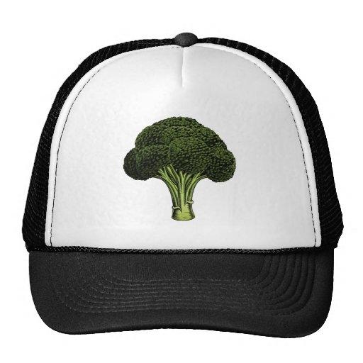 Broccoli vintage woodcut illustration hat