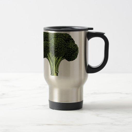 Broccoli vintage woodcut illustration coffee mug