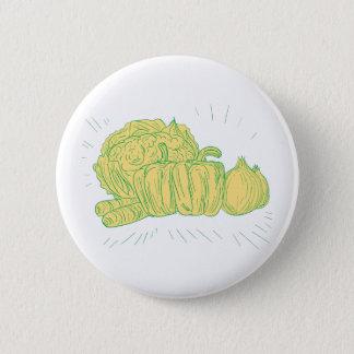 Brocolli Capsicum Onion Drawing 2 Inch Round Button