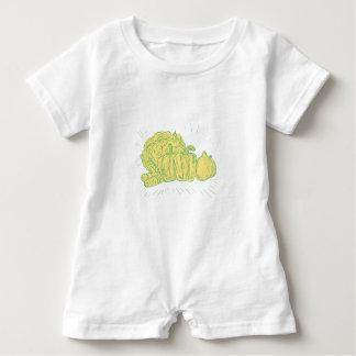 Brocolli Capsicum Onion Drawing Baby Romper