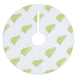 Brocolli Capsicum Onion Drawing Brushed Polyester Tree Skirt