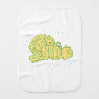 Brocolli Capsicum Onion Drawing Burp Cloth