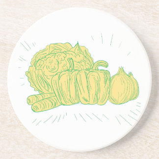 Brocolli Capsicum Onion Drawing Coasters