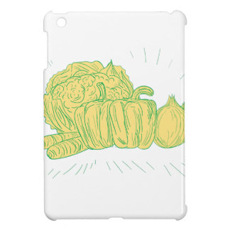 Brocolli Capsicum Onion Drawing iPad Mini Cases
