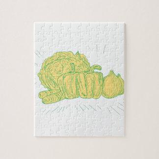 Brocolli Capsicum Onion Drawing Jigsaw Puzzle