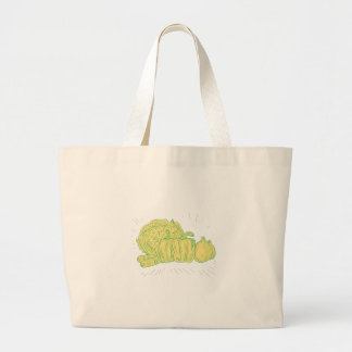 Brocolli Capsicum Onion Drawing Large Tote Bag