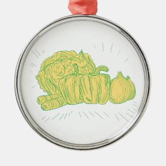 Brocolli Capsicum Onion Drawing Metal Ornament