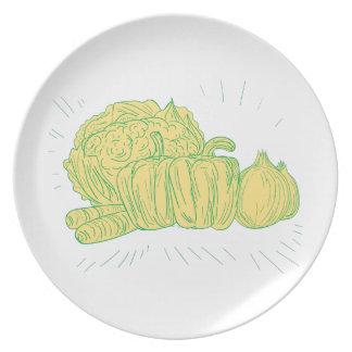 Brocolli Capsicum Onion Drawing Plate