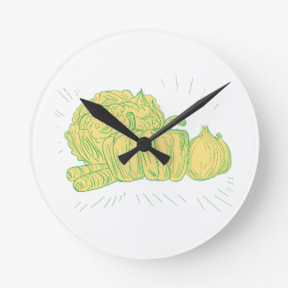 Brocolli Capsicum Onion Drawing Round Clock