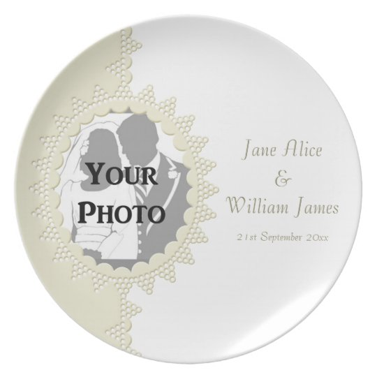 Broderie Anglaise Lace Style Wedding Memento Plate