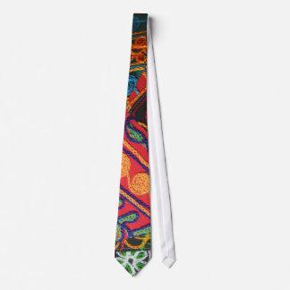 Broderie indienne colorée cravate