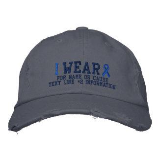 Broderie personnalisée de conscience de ruban bleu casquettes de baseball brodées