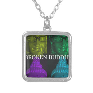Broken buddha 4 square1 silver plated necklace