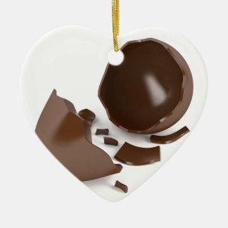Broken chocolate egg ceramic ornament