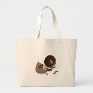 Broken chocolate egg large tote bag