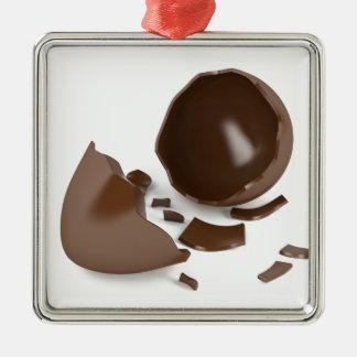 Broken chocolate egg metal ornament