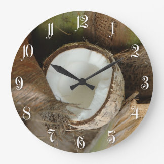 Broken coconut large clock
