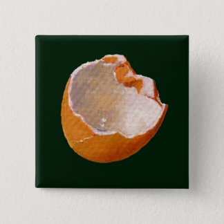 BROKEN EGG SHELL: ART: REALISM 2 INCH SQUARE BUTTON