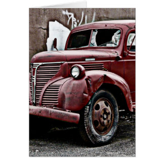 Broken Front Window Truck in Back Alley Greeting Card