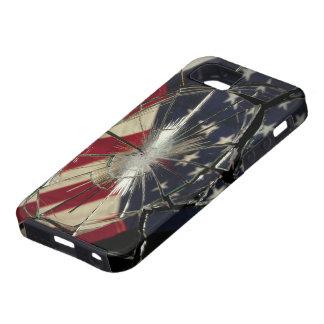 Broken Glass American Flag iPhone 5 Case-Mate Toug