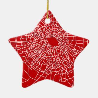 Broken glass Red Ceramic Star Ornament