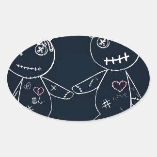 Broken Heart Blue Glow.jpg Oval Sticker
