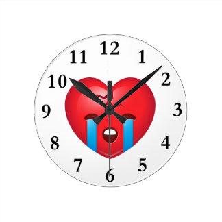 Broken Heart Emoji Round Clock