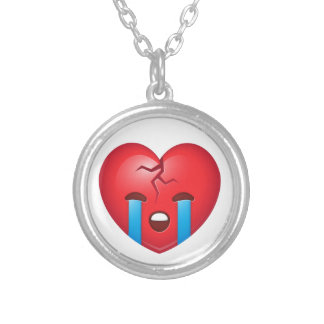 Broken Heart Emoji Silver Plated Necklace