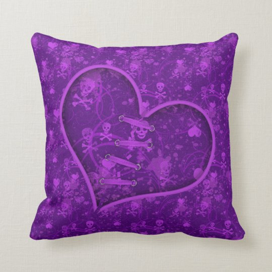 Broken Heart Purple Skulls & Hearts Pillow