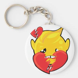 broken heart smiley face basic round button keychain