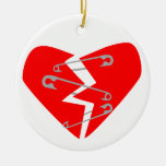 Broken Heart with Safety Pins Round Ceramic Ornament