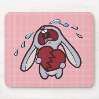 Broken Hearted Bunny on Pink Checks Mousepad