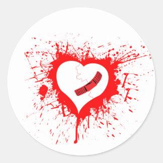 Broken Hearted Classic Round Sticker