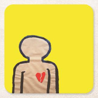 Broken Hearted Square Paper Coaster
