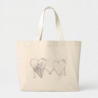 broken hearts do mend large tote bag