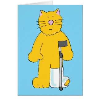Broken leg, cat with leg in plaster. card