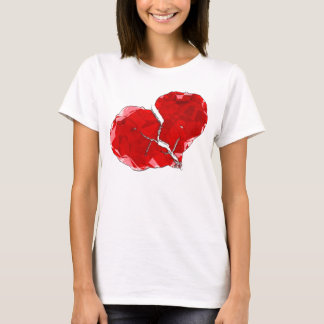 Broken Red Heart Polygon Abstract Apparel T-Shirt