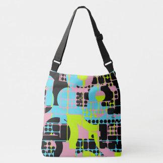 Broken shapes abstract design crossbody bag