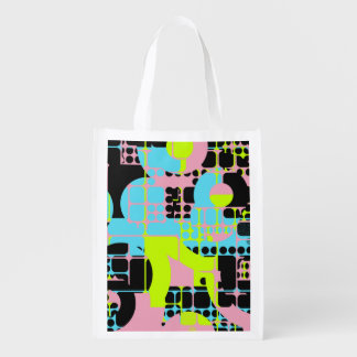 Broken shapes abstract design reusable grocery bag