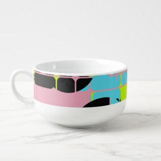 Broken shapes abstract design soup mug