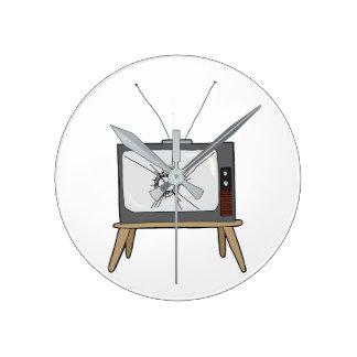Broken Television Round Wall Clock