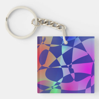 Broken Tile Mosaic Design Abstract Art Square Acrylic Key Chains